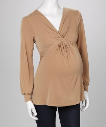 Beige Maternity Long-Sleeve Top