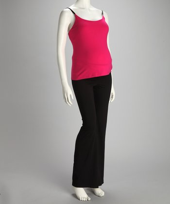 Fuchsia Maternity Tank & Yoga Pants