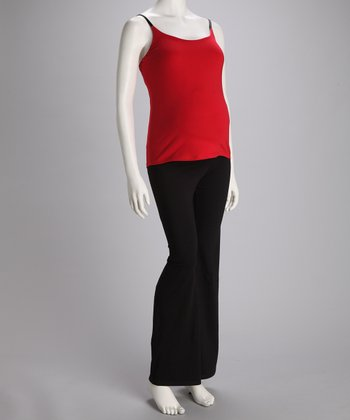 Red Maternity Tank & Yoga Pants