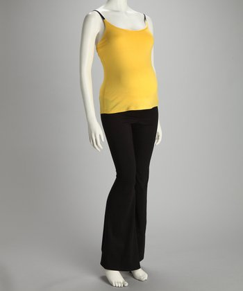 Yellow Maternity Tank & Yoga Pants