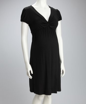 Black Knotted Maternity Cap-Sleeve Dress