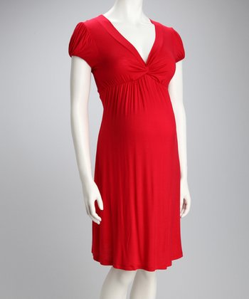 Red Knotted Maternity Cap-Sleeve Dress