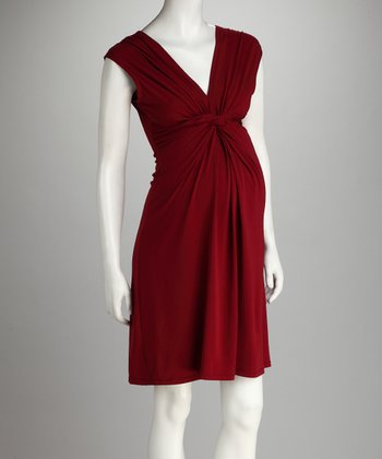 Burgundy Knot-Front Maternity Dress