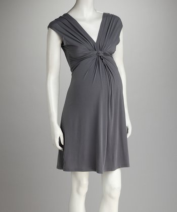 Gray Knot-Front Maternity Dress