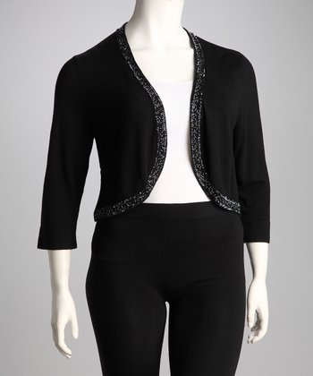 Black Beaded Plus-Size Shrug