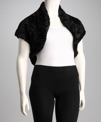 Black Faux Fur Plus-Size Shrug