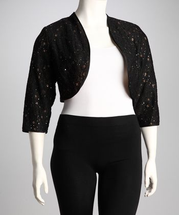 Black Lace Plus-Size Shrug