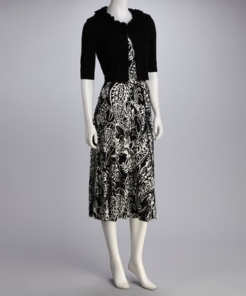 Black Paisley Belted Dress & Bolero - Women