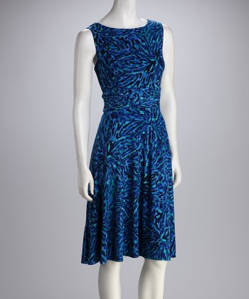 Bright Blue Abstract Sleeveless Dress - Women