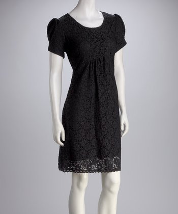 Black Lace Puff-Sleeve Dress - Women