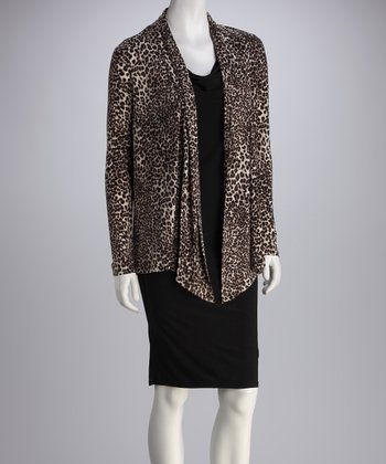 Black & Tan Leopard Layered Cardigan Dress