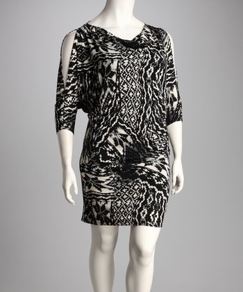 Black & White Abstract Plus-Size Dress