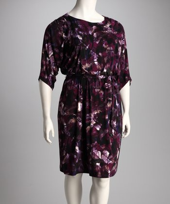 Purple Floral Plus-Size Tie-Waist Dress