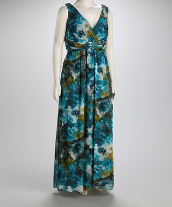 Teal Floral Plus-Size Maxi Dress