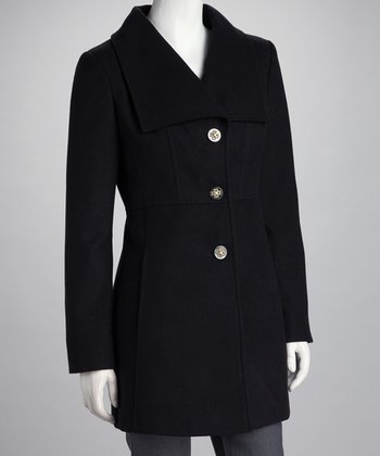 Black Square-Collar Coat - Women