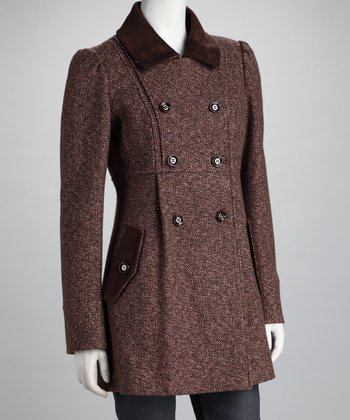 Brown & Pink Tweed Peacoat