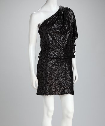 Black Sequin Asymmetrical Dress
