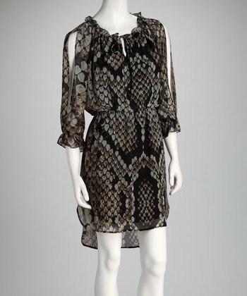 Black & Gray Snakeskin Split-Sleeve Hi-Low Dress