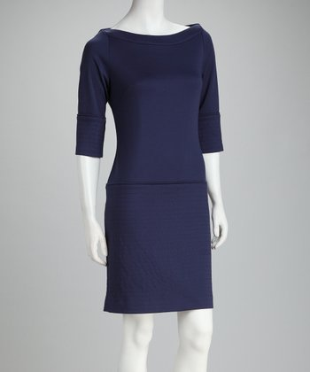 Blue Three-Quarter Sleeve Dress