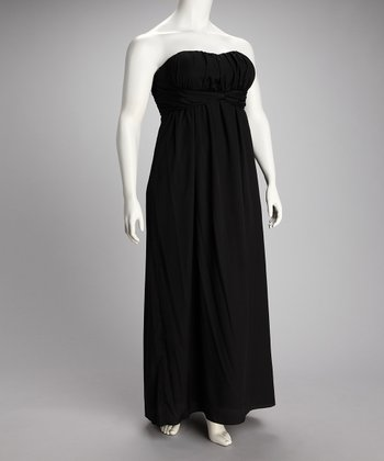 Black Strapless Maxi Dress - Plus