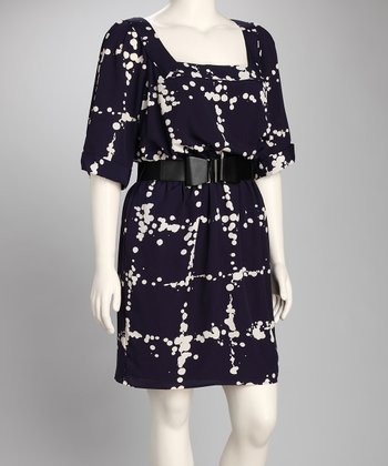 Navy Dot Belted Dress - Plus