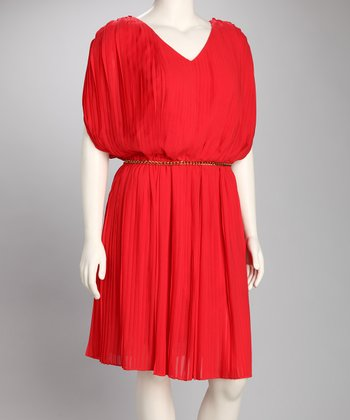 Tomato Pleated V-Neck Dress - Plus