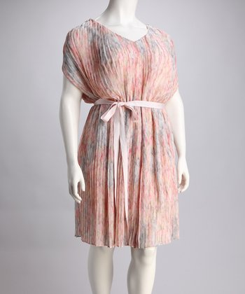 Apricot Pleated Tie-Waist Dress - Plus