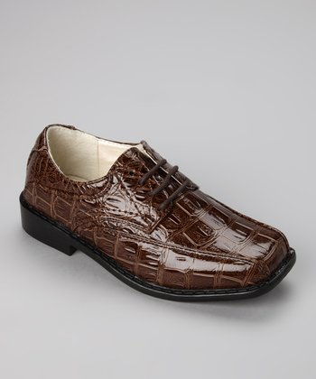 Brown Crocodile Lace-Up Oxford