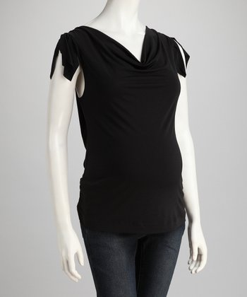 Black Maternity Angel-Sleeve Top