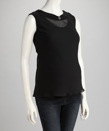 Black Sheer Maternity Sleeveless Top
