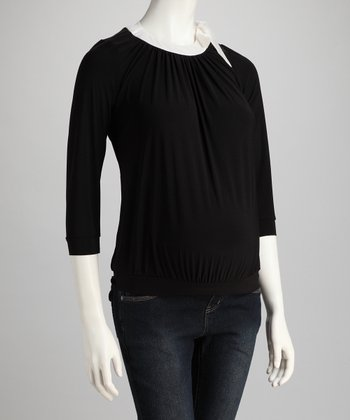 Black & Cream Banded Maternity Top