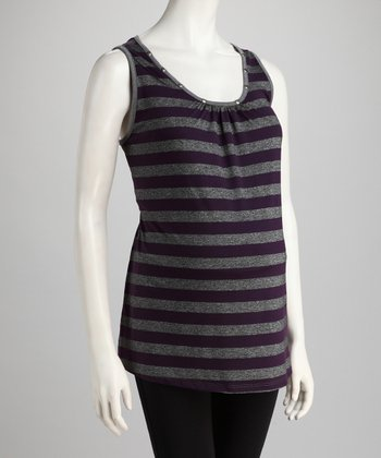 Purple & Gray Stripe Maternity Tunic