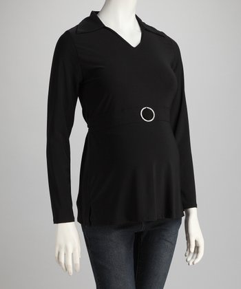 Black Rhinestone-Buckle Maternity Top