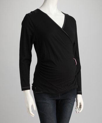 Black Heart Maternity Surplice Top