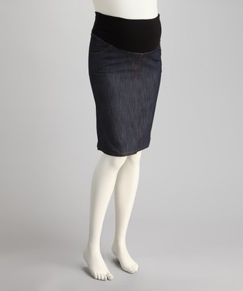 Denim Navy Mid-Belly Maternity Skirt