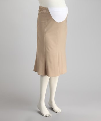 Caramel Mid-Belly Maternity Trumpet Skirt