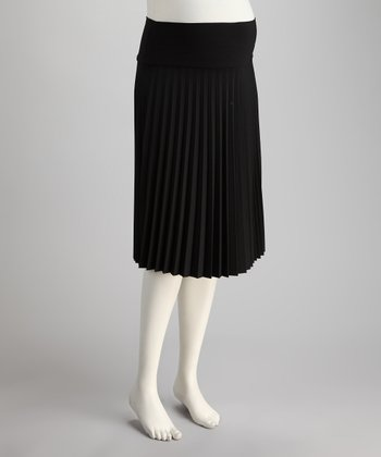 Black Mid-Belly Maternity Accordion Pleated Skirt