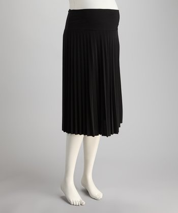 Black Chiffon Mid-Belly Maternity Accordion Pleated Skirt