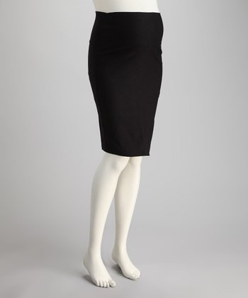 Black Sarah Mid-Belly Maternity Pencil Skirt