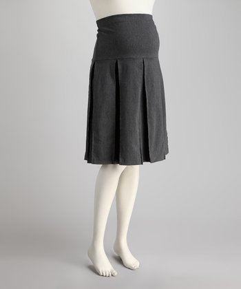 Gray Over-Belly Maternity Pleated Skirt