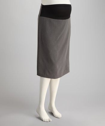 Gray Mid-Belly Maternity Skirt