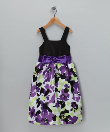 Black & Purple Floral Dress - Girls