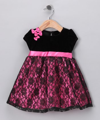Black & Pink Bow Blanche Dress - Infant, Toddler & Girls
