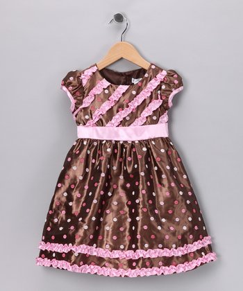 Brown & Pink Polka Dot Kiki Dress - Toddler & Girls