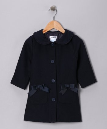 Navy Bow Wool-Blend Peacoat - Toddler & Girls