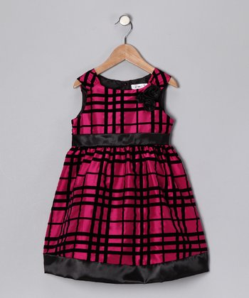 Fuchsia & Black Prim Dress - Toddler