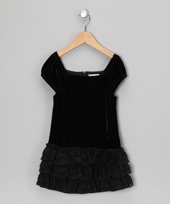 Black Willow Velour Drop-Waist Dress - Toddler & Girls