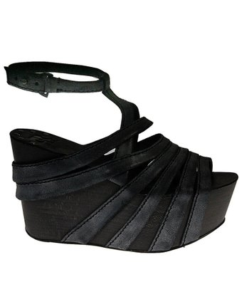 Black Briggs Platform Wedge Sandal
