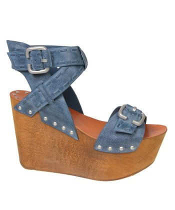 Navy Bliss Wedge Sandal