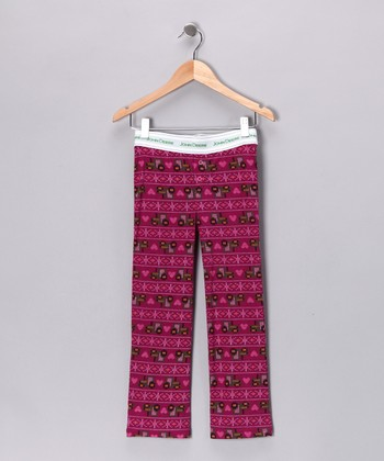 Fuchsia Fleece Pajama Pants - Girls